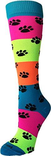 TCK Sports Neon Rainbow Fun Print OTC Socks