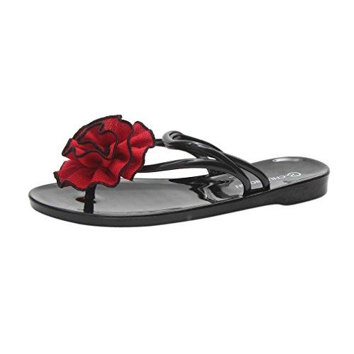 Hatop Vrouwen Zomerbloemen Sandalen Slipper Indoor Outdoor Flip-flops Strandschoenen Rood