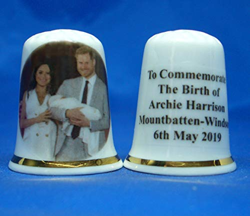 Birchcroft Porcelain China Collectable Thimble - Prince Harry & Meghan Markle with Baby Archie Box