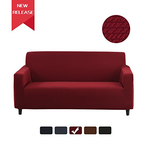 RUBEDER Stretch Sofa Slipcover Couch Cover 1-Piece Jacquard Polyester Spandex Fabric Elastic Furniture Protector (Knitted Stripe, Wine Red) Red Stripes Wine