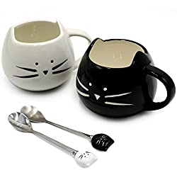 Koolkatkoo Cute Cat Ceramic Black & White Kitty Cat Mugs and Spoons Set 12 oz | Coffee Mug Gift, Cat Lover Gift, Anniversary Gift