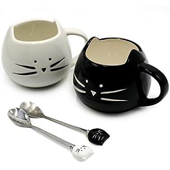 Koolkatkoo Cute Cat Ceramic Black & White Kitty Cat Mugs and Spoons Set 12 oz | Coffee Mug Gift, Cat Lover Gift, Anniversary Gift