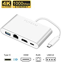 USB C Hub Ethernet HDMI Adapter, FUTSYM USB Type C to HDMI 4K Gigabit Ethernet 85W Power Delivery USB C Hub for MacBook Pro Accessories Compatible Samsung DEX Station Dock Note 8 S9 Plus