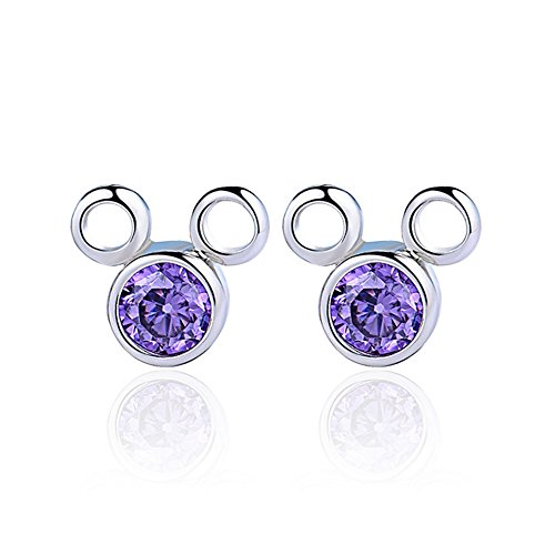 The November Nocturne Purple Zircon Disney's Mickey Mouse Cartoon Silver Plated Stud Earring