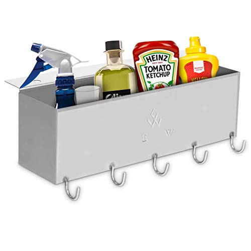 Dellar BBQ Utensil Holder Accessories for Blackstone 28″& 36″ – Griddle BBQ Caddy – Premium Stainless Steel Grill Caddy – Sturdy and Reliable Construction – (BBQ Utensil Holder)