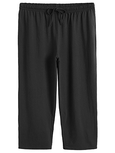 (Latuza Women's Cotton Capri Pants Sleep Capris S Black)
