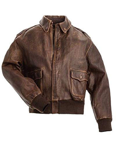 A2 Aviator Air Force Pilot Men Vintage Distressed Brown Flight Genuine Cowhide Leather Cockpit Bomber Jacket (XS)