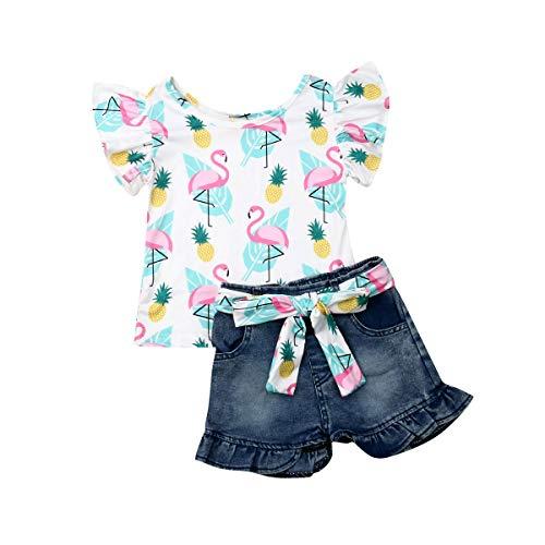 Baby Little Girls Denim Shorts Set Fly Sleeve Flamingo Tops+Denim Jean Short+Sash Outfits Set 1-6Y ()