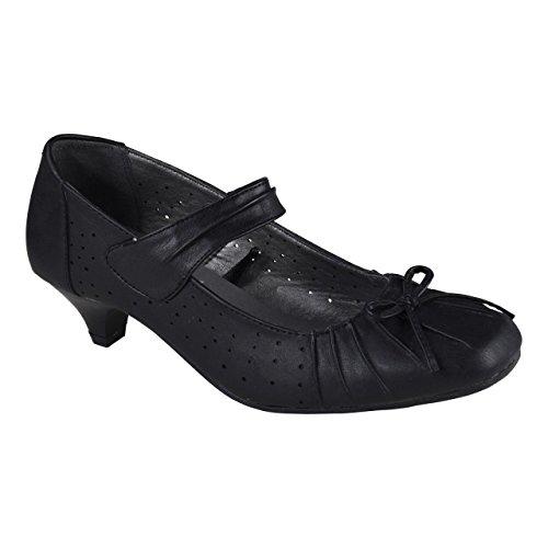 Damen Pumps _ Casual Freizeitschuhe _ Echtleder Decksohle _ Komfort Absatz Schuhe _ BA0155 Schwarz