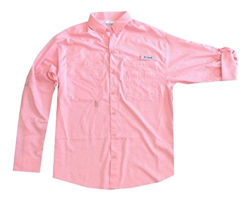 5109517d234 Columbia Men's PFG Omni-Wick Omni-Shade UPF 40 Crystal Springs Convertible  Sleeve Shirt (XXL, Light Pink)