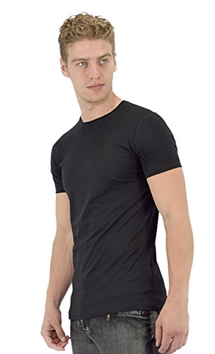 Ragman CrewNeck Solid Short Sleeve 100% Soft Pima Cotton Made in Peru - Men's T-shirts Pack of 2 MPIG1200-BLK-XL