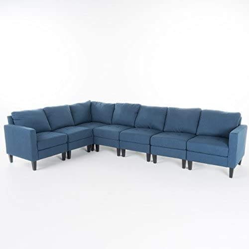 Christopher Knight Home Zahra Fabric Sectional Couch, 7-Pcs Set, Dark Blue