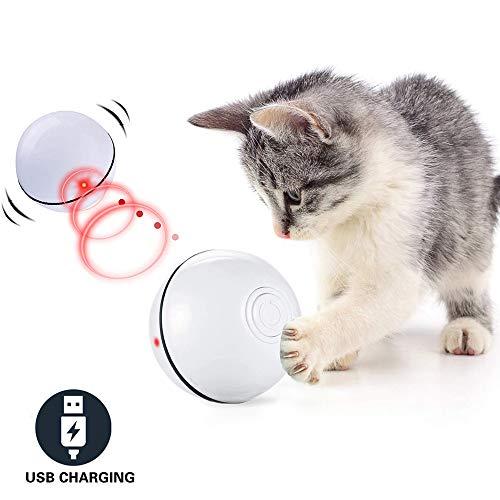 CHOKMAX Katzenspielzeug Interaktive Automatische Rolling Ball USB Wiederaufladbare LED-Licht Unterhaltung Pet Übung…