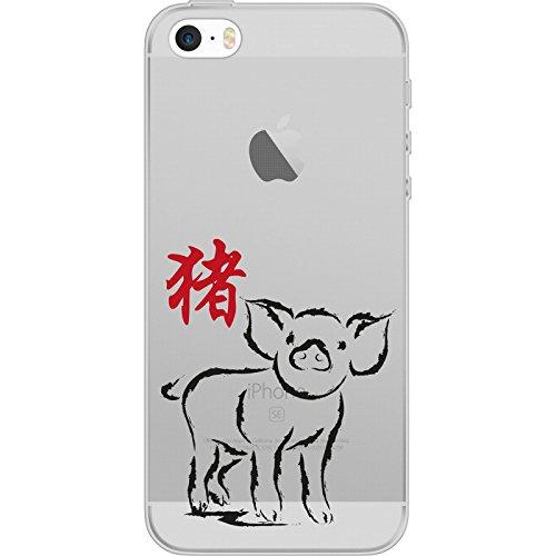PhoneNatic Case für Apple iPhone 5 / 5s / SE Silikon-Hülle Tierkreis Chinesisch M12 Case iPhone 5 / 5s / SE Tasche + 2 Schutzfolien