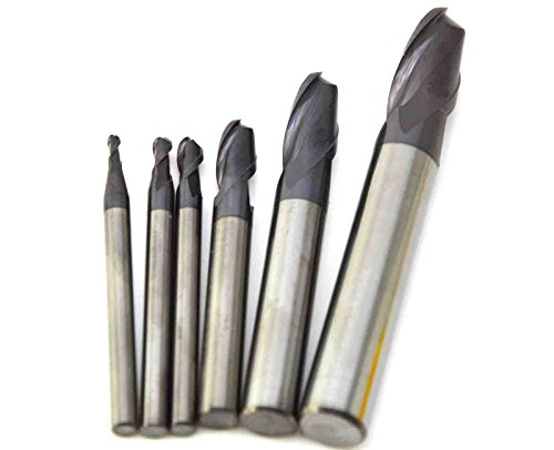 Wokesi Pack of 6Pcs,0.5 1.5 2 2.5 3 4mm Radius,Tungsten Steel Carbide,Ball Nose End Mill Set,HRC45,2Flutes,TiAlN Coated,CNC Router Bits Milling Profiling Tools(1/3/4/5/6/8mm HRC45)