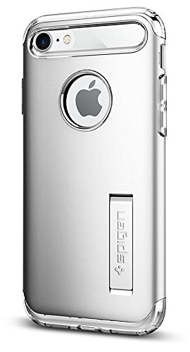 Spigen Slim Armor iPhone 7/iPhone 8 Case with Kickstand and Air Cushion Technology Hybrid Drop Protection for Apple iPhone 7 (2016)/iPhone 8 (2017) - Satin Silver