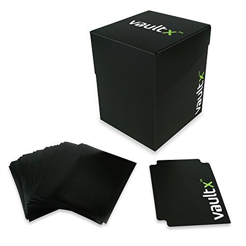 Vault X  Deck Box and 150 Black Card Sleeves - Large Size for 120+ Sleeved...