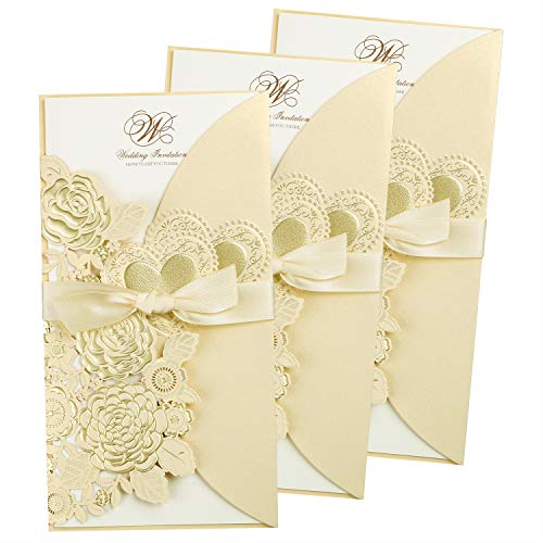 "FEIYI 25 Pieces 4.4 x 8.4"" Laser Cut Hollow Rose with Ribbon Wedding Invitations Cards for Wedding, Baby Shower, Birthday Invite (Champagne Gold)"