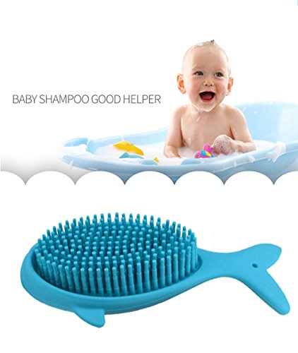 Baby Hair Body Bath Brushes,Tiptop Shower Gel Scalp Scrubber,Shampoo Scalp Brushes, Multi-Use Soft Massage Brush,Soft Food Grade Silicone Baby Shower Toys,Whale Shape Handle,Blue(1pcs) - 5.8a Top Handle