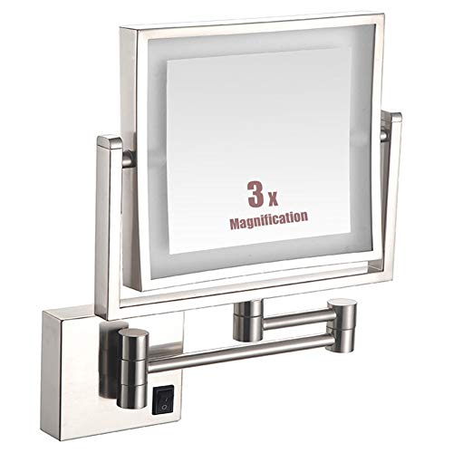 Wall-Mounted Shaving Mirror Bathroom Mirror - 3X Magnification - Lighted Makeup Mirror -