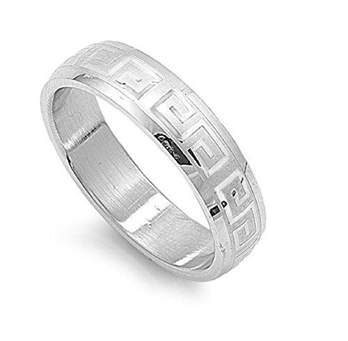 Greek Design Ring - Stainless Steel Greek Design Band Ring Size 8