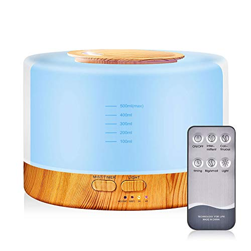 Price comparison product image ETbotu 700ML Wood Grain Air Humidifier with Remote Control Essential Oil Diffuser Aromatherapy Mist Maker Wood Grain (U.S. regulations)