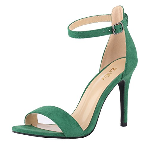 ZriEy Women's Heeled Sandals Ankle Strap High Heels 10CM Open Toe Bridal Party Shoes Velvet Green Size 8 by ZriEy