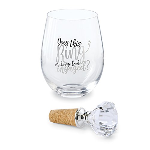 (Mud Pie Ring Make Me Look Engaged Stemless Wine Glass 16 oz)