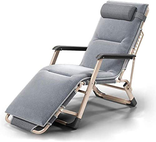 太陽のラウンジャー、重い人のためにリクライニングパティオの椅子屋外ビーチ芝生キャンプポータブル椅子折りたたみ式デッキチェアホームラウンジチェア(色:クッション付きグレー)