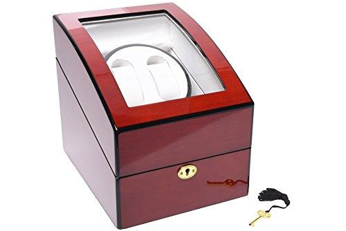 Luxury Cherry Wood 4 Mode Watch Winder - 5 Watch Storage Display Box Organizer (2+3 Cherry)