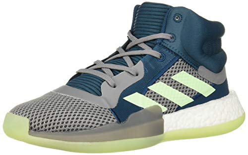 adidas Unisex-Kid's Marquee Boost Basketball Shoe, Tech Mineral/Glow Green/Grey, 5.5 M US Big Kid