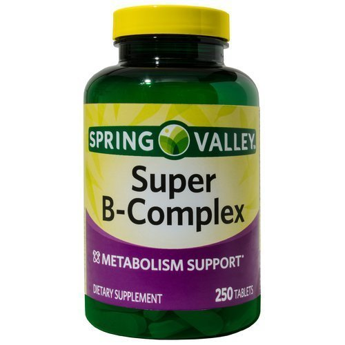 Spring Valley Super B-Complex, Metabolism Support, 250 Tablets (Spring Valley B Vitamin)