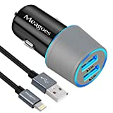 Meagoes Fast iPhone Car Charger - Apple MFi Certified Compatible for iPhone XS Max XS XR X 8 Plus 8 7 Plus 7 - iPad Pro Air mini - AirPod - 24W Rapid Dual USB Port Car Adapter with 3ft MFi Lightning Cable