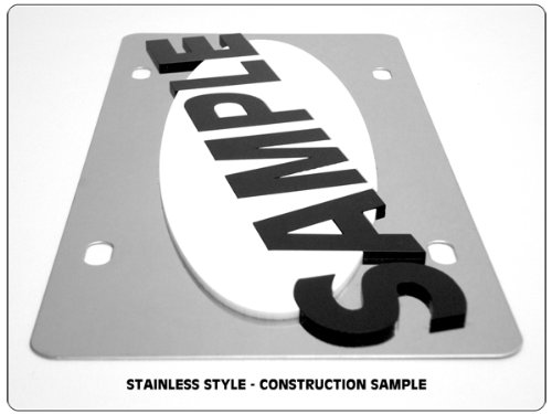 Stainless Steel License Plate FLY Black Negative Fly Word Black Cutouts Eurosport Daytona Inc.