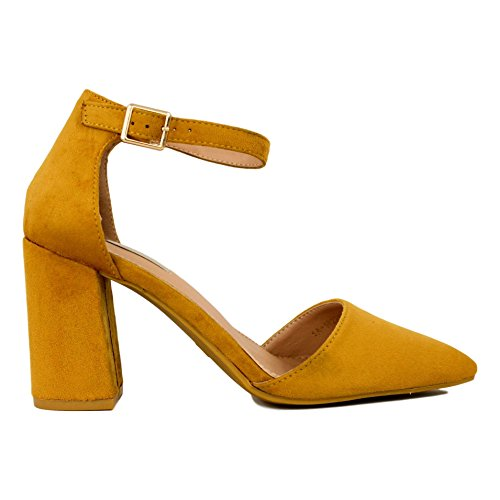 8 Zapato Buonarotti Puntera Centímetros de 5 Antelina Amarillo Tacón con DE Cubierta xwwRZqp