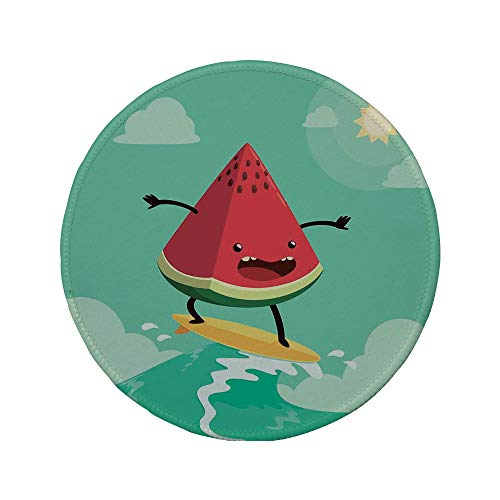 Non-Slip Rubber Round Mouse Pad,Surf Decor,Cute Watermelon Riding The Waves Surfing in The Ocean Popular Summer Activity,Red Green Yellow,11.8
