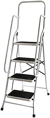 Escalera plegable con 4 peldaños, antideslizante y con pasamanos de seguridad: Amazon.es: Bricolaje y herramientas