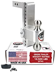 """Weigh Safe LTB10-2, 10"""" Drop 180 Hitch w/ 2"""" Shank/Shaft, Adjustable Aluminum Trailer Hitch & Ball Mount, Stainless Steel Combo Ball (2"""" & 2-5/16"""") and a Double-pin Key Lock"""
