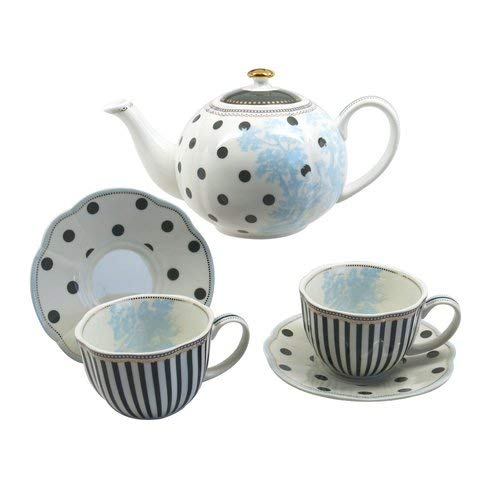 (OKSLO Ophelia & co. kress toile dot stripe 5 piece porcelain tea set)