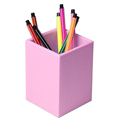 UnionBasic PU Leather Square Pens Pencils Cup Holder Desk Stationery Organizer (Pink)