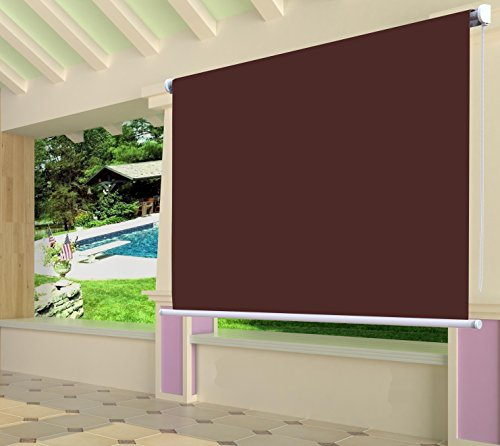 Shatex Waterproof Exterior Manual Roller Shade 8x6ft Wine Red by Shatex
