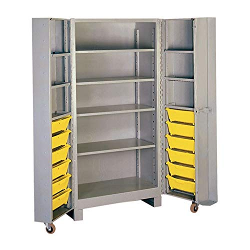 Lyon DD1127 All Welded Steel Deep Door Cabinet with 4 Shelf and 12 Bins, 39