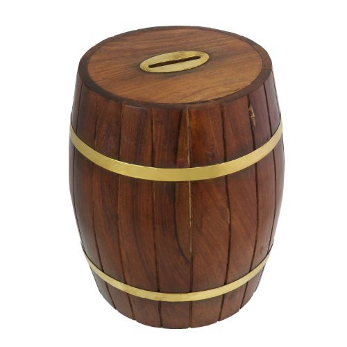 Money Box Savings Banks Large Wooden Piggy Bank for Kids, Adults, Boys & Girls, 6 Inches ()