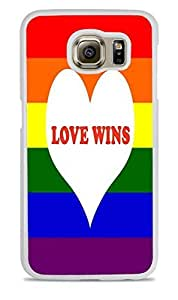 Love Wins Rainbow White Silicone Case for Samsung Galaxy S6 by ruishername
