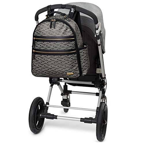 Skip Hop Greenwich Easy Access Diaper Bag Backpack with Changing Pad and Stroller Straps, Deco Saffiano