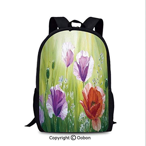Fashion Breathable Backpack, Sunset Hill with Poppy Dandelion and Daisy Flowers in, School Bag :Suitable for Men and Women, School, Travel, Daily use, etc.Purple Green and Orange -