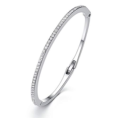 Thin CZ Cubic Zirconia Bracelet Bangle for Women Girls Paved with Austrian Crystal Jewelry Birthday Gifts