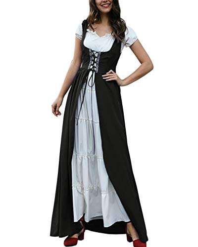 Women Medieval Dress Renaissance Lace up Vintage Floor Length Cosplay Long Costumes ()