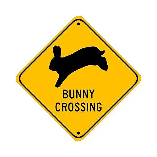 Bunny Crossing, jumping rabbit; pet animal novelty sign, aluminum, 6, glossy black on caution yellow