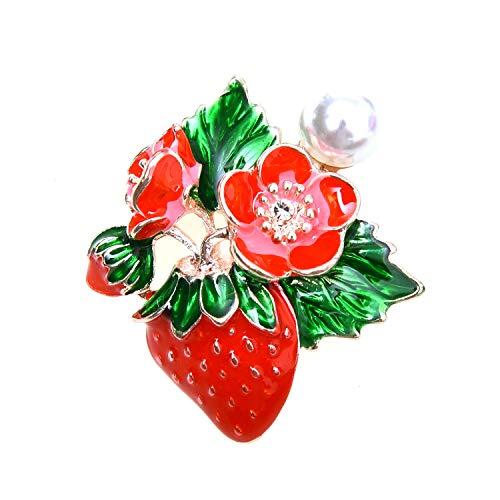 (Monrocco Enamel Fruit Strawberry Flower Brooch Pins for Women and Men Fruit Pin Kid Gift)
